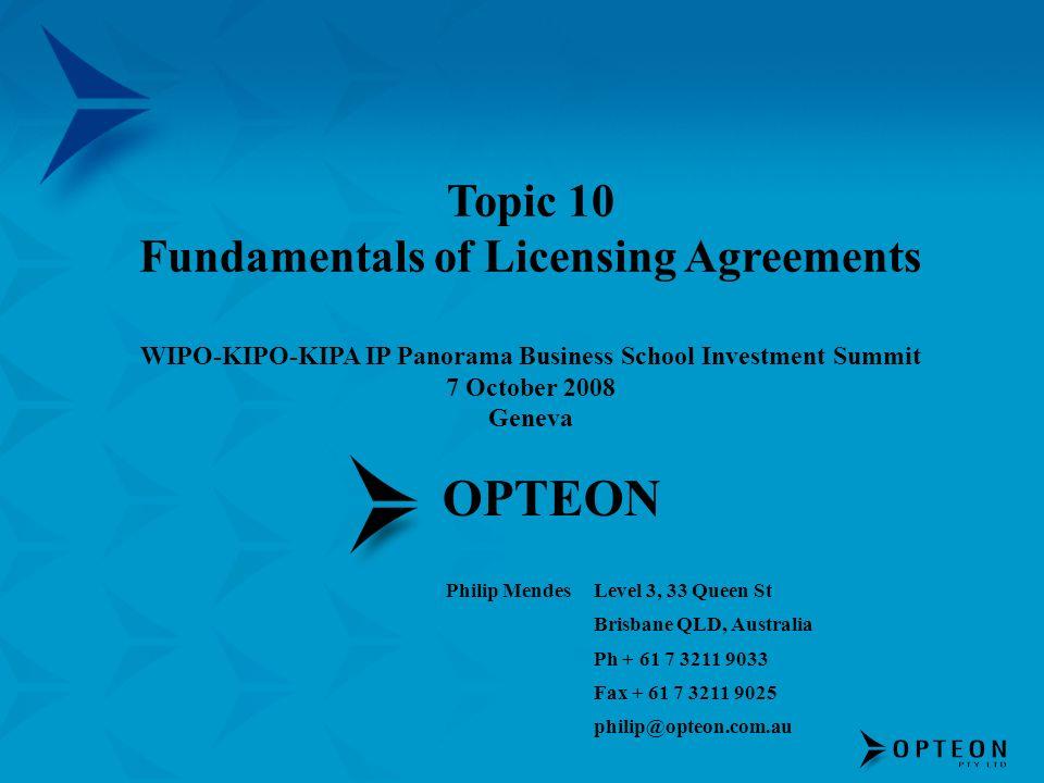 OPTEON Philip MendesLevel 3, 33 Queen St Brisbane QLD, Australia Ph + 61 7 3211 9033 Fax + 61 7 3211 9025 philip@opteon.com.au Topic 10 Fundamentals o