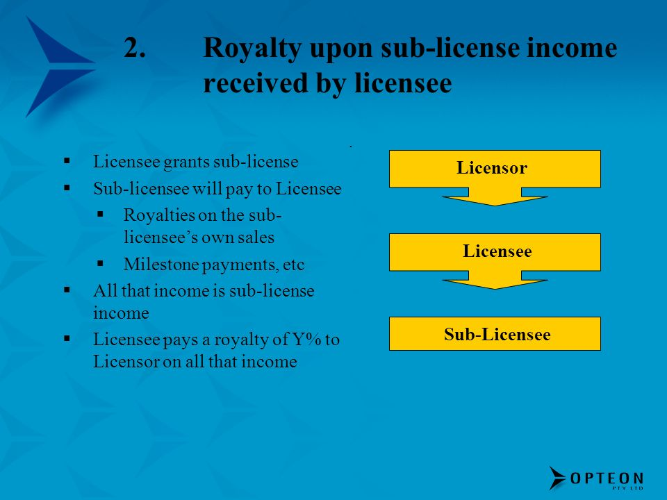2.Royalty upon sub-license income received by licensee Licensee grants sub-license Sub-licensee will pay to Licensee Royalties on the sub- licensees o