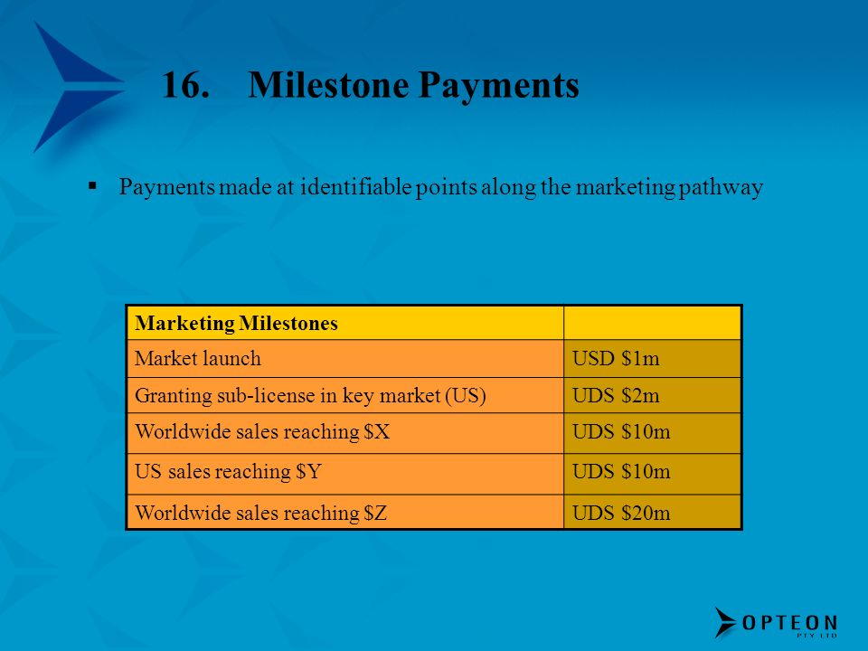 16.Milestone Payments Payments made at identifiable points along the marketing pathway Marketing Milestones Market launchUSD $1m Granting sub-license
