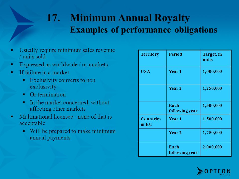 17.Minimum Annual Royalty Examples of performance obligations Usually require minimum sales revenue / units sold Expressed as worldwide / or markets I