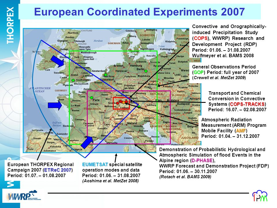 WWRP 10 COPS-TRACKS Transport and Chemical Conversion in Convective Systems (COPS-TRACKS) Period: 16.07. – 02.08.2007 EUMETSAT EUMETSAT special satell