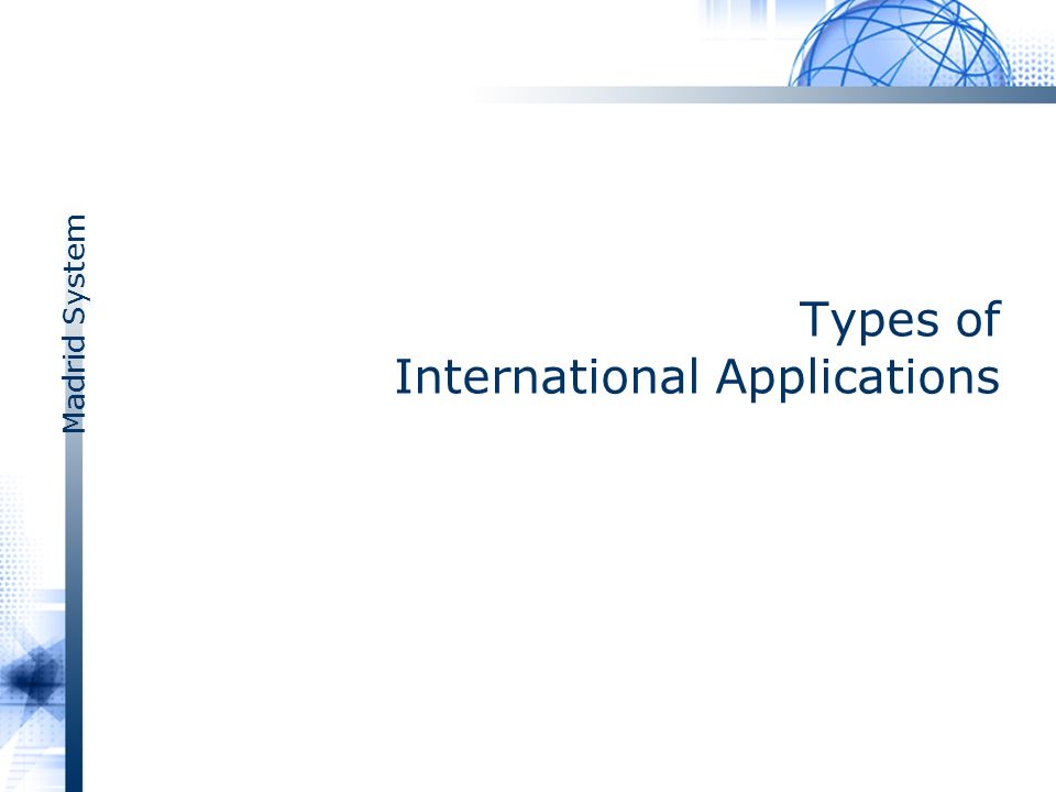 Madrid System Types of International Applications