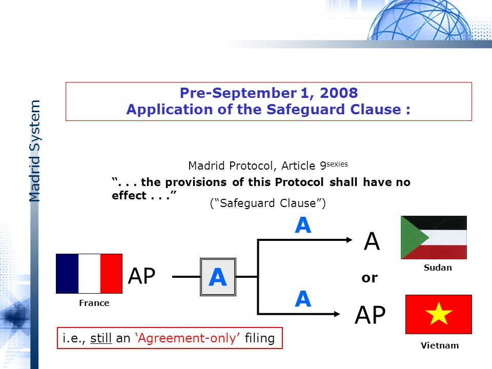 Madrid System Pre-September 1, 2008 Application of the Safeguard Clause : A A AP A or Vietnam AP A France Madrid Protocol, Article 9 sexies (Safeguard Clause)...