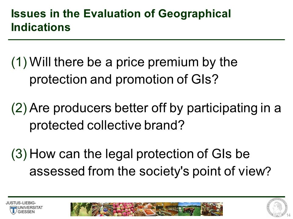 14 Issues in the Evaluation of Geographical Indications (1)Will there be a price premium by the protection and promotion of GIs.