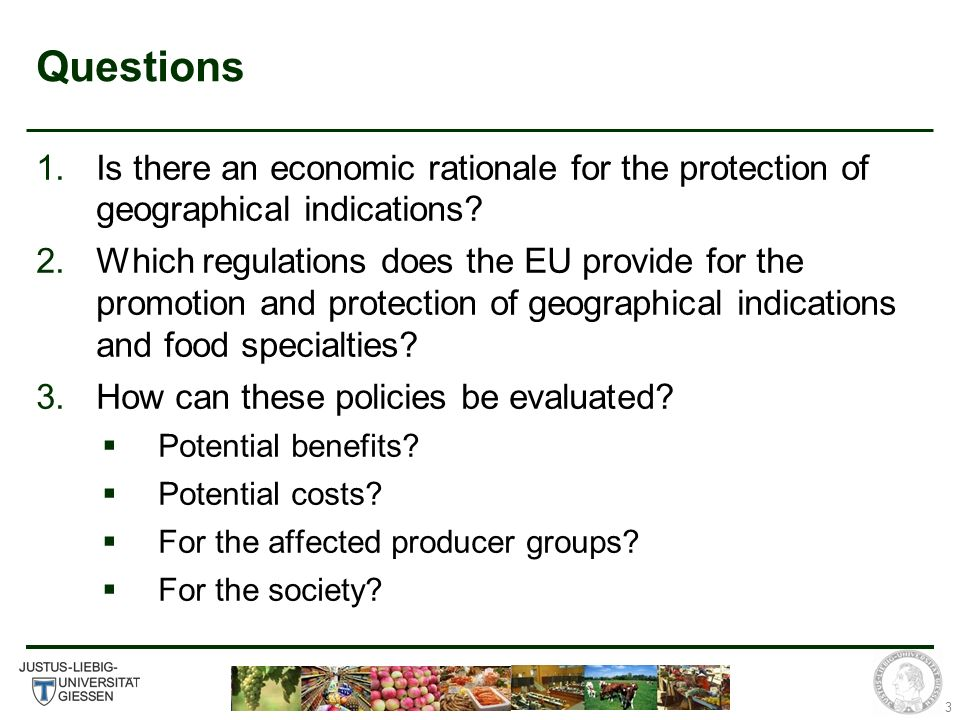 3 Questions 1.Is there an economic rationale for the protection of geographical indications.