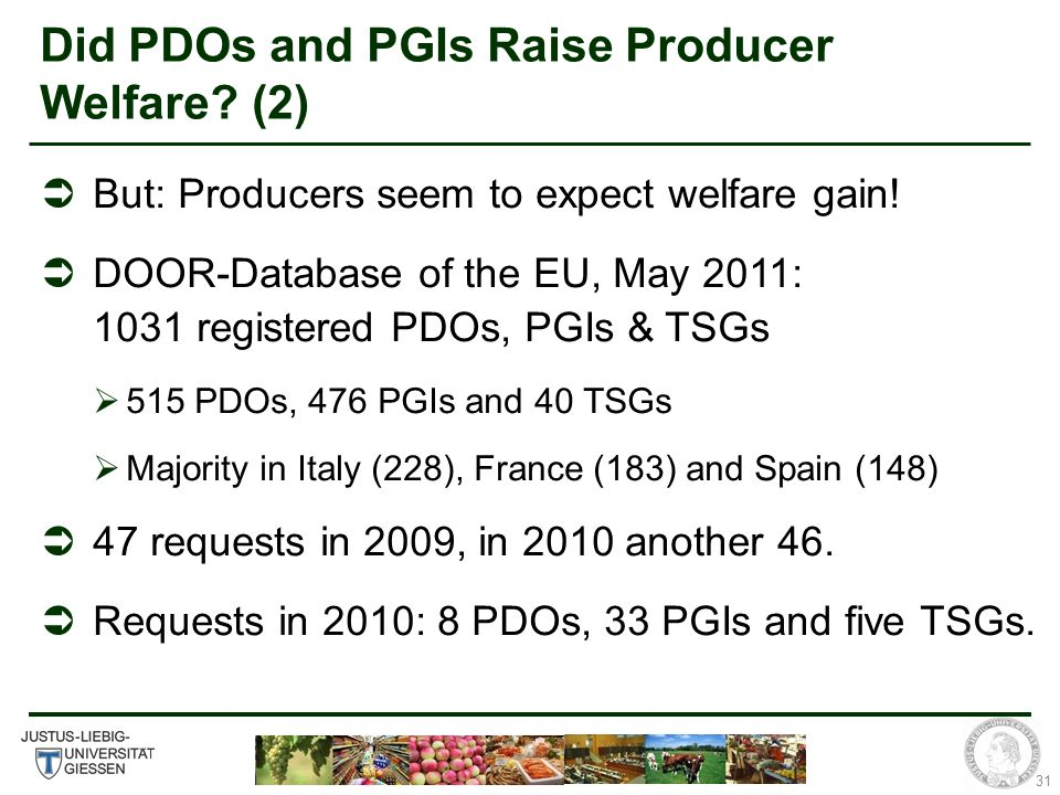 31 Did PDOs and PGIs Raise Producer Welfare. (2) But: Producers seem to expect welfare gain.