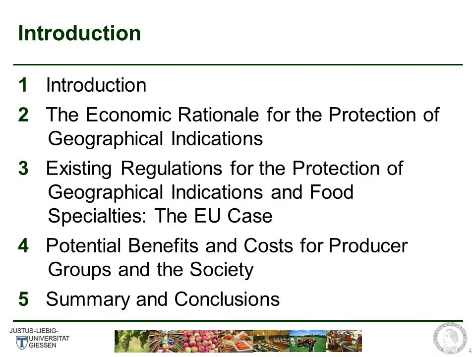4 Introduction 1 Introduction 2 The Economic Rationale for the Protection of Geographical Indications 3 Existing Regulations for the Protection of Geographical Indications and Food Specialties: The EU Case 4 Potential Benefits and Costs for Producer Groups and the Society 5 Summary and Conclusions