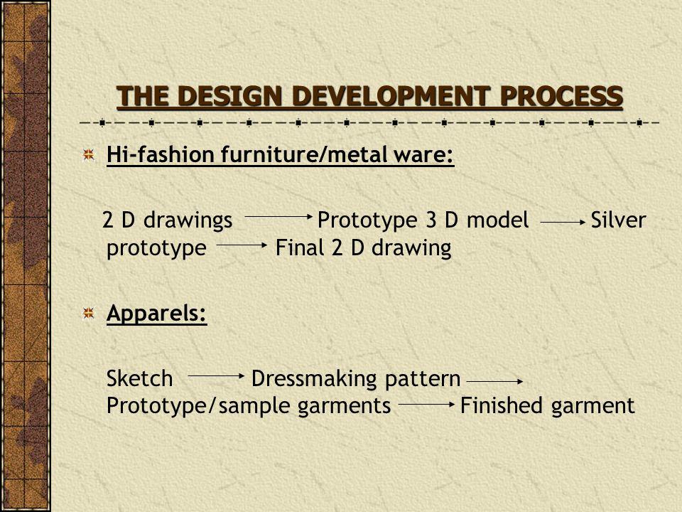 THE DESIGN DEVELOPMENT PROCESS Hi-fashion furniture/metal ware: 2 D drawings Prototype 3 D model Silver prototype Final 2 D drawing Apparels: Sketch D