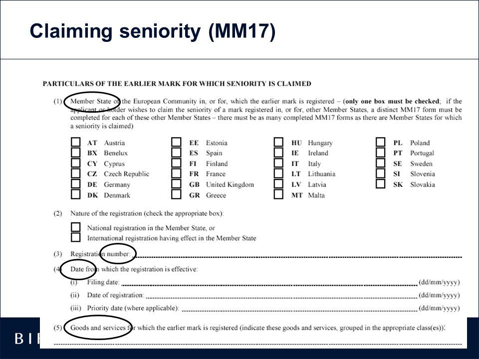 17 Claiming seniority (MM17)