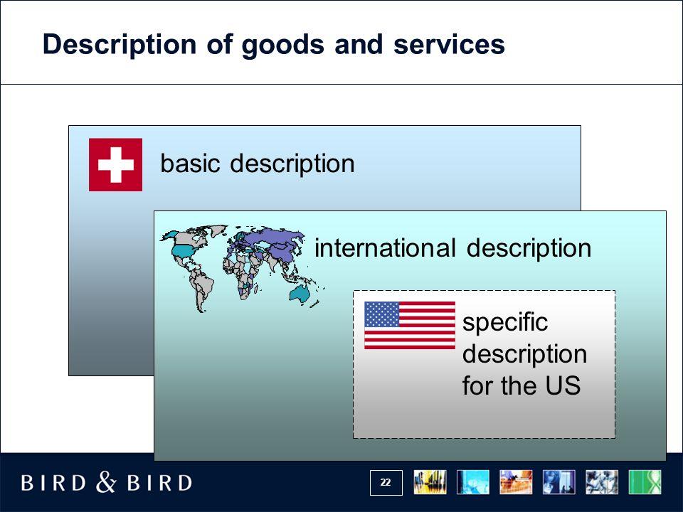 22 basic description international description specific description for the US Description of goods and services