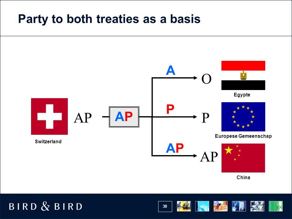 30 AP Switzerland P APAP O P AP Europese Gemeenschap China APAP Egypte A Party to both treaties as a basis