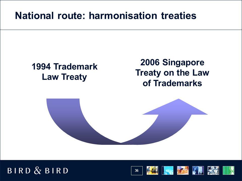 36 1994 Trademark Law Treaty 2006 Singapore Treaty on the Law of Trademarks National route: harmonisation treaties