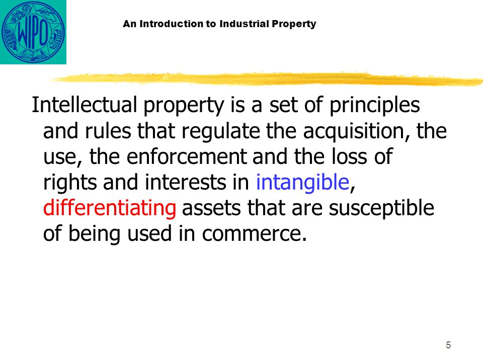 5 An Introduction to Industrial Property Intellectual property is a set of principles and rules that regulate the acquisition, the use, the enforcement and the loss of rights and interests in intangible, differentiating assets that are susceptible of being used in commerce.