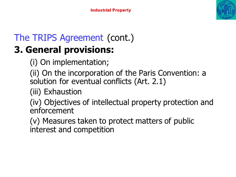 Industrial Property The TRIPS Agreement (cont.) 3.