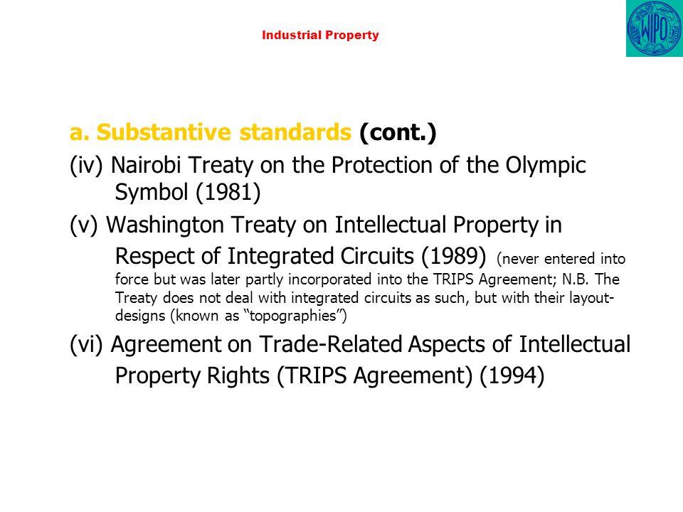Industrial Property a. Substantive standards (cont.) (iv) Nairobi Treaty on the Protection of the Olympic Symbol (1981) (v) Washington Treaty on Intel