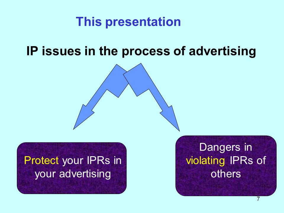 7 This presentation IP issues in the process of advertising Protect your IPRs in your advertising Dangers in violating IPRs of others