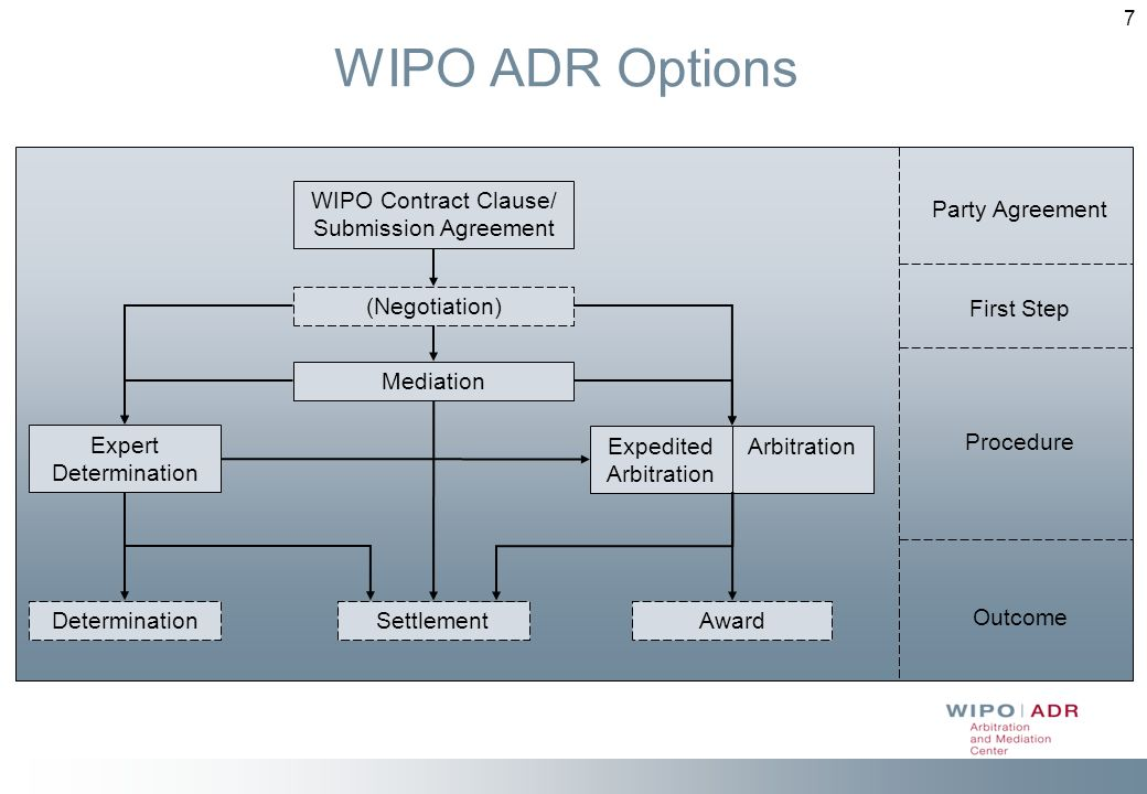 7 WIPO ADR Options Expedited Arbitration Arbitration WIPO Contract Clause/ Submission Agreement Expert Determination Determination (Negotiation) Mediation Award Settlement Party Agreement Outcome Procedure First Step
