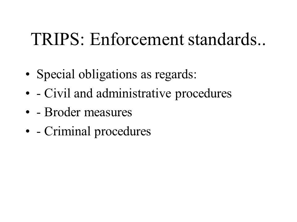 TRIPS: Enforcement standards..