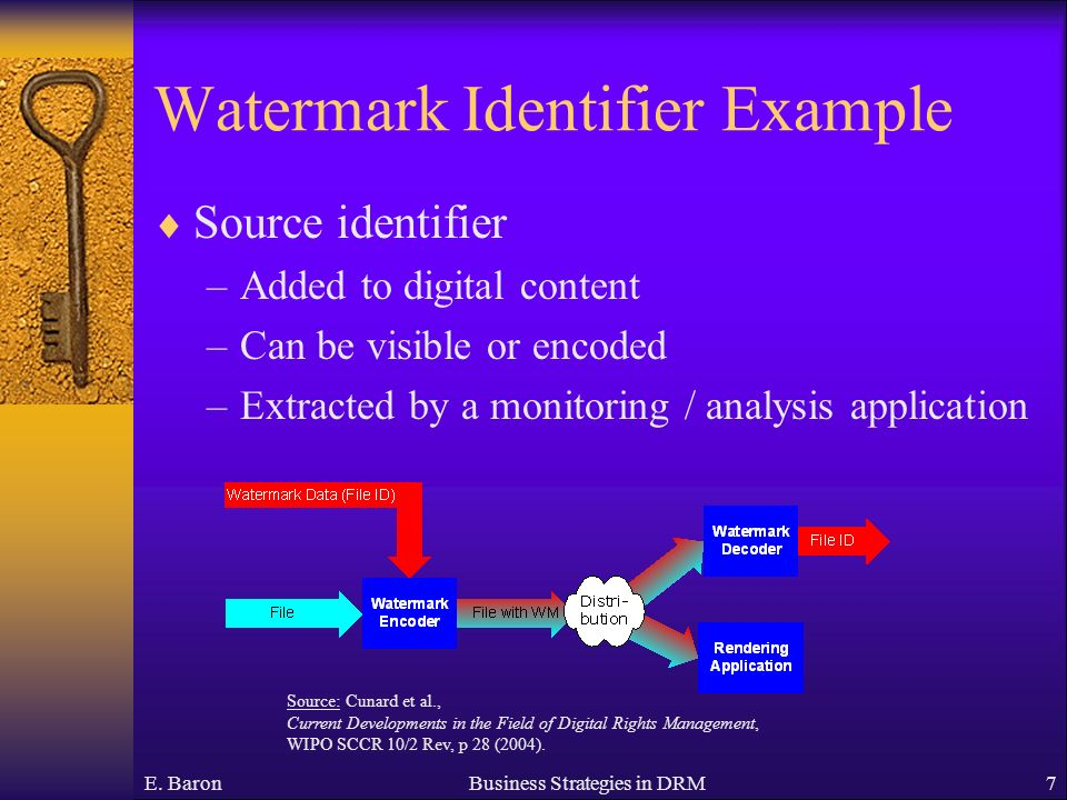 Watermark Identifier Example Source identifier –Added to digital content –Can be visible or encoded –Extracted by a monitoring / analysis application E.