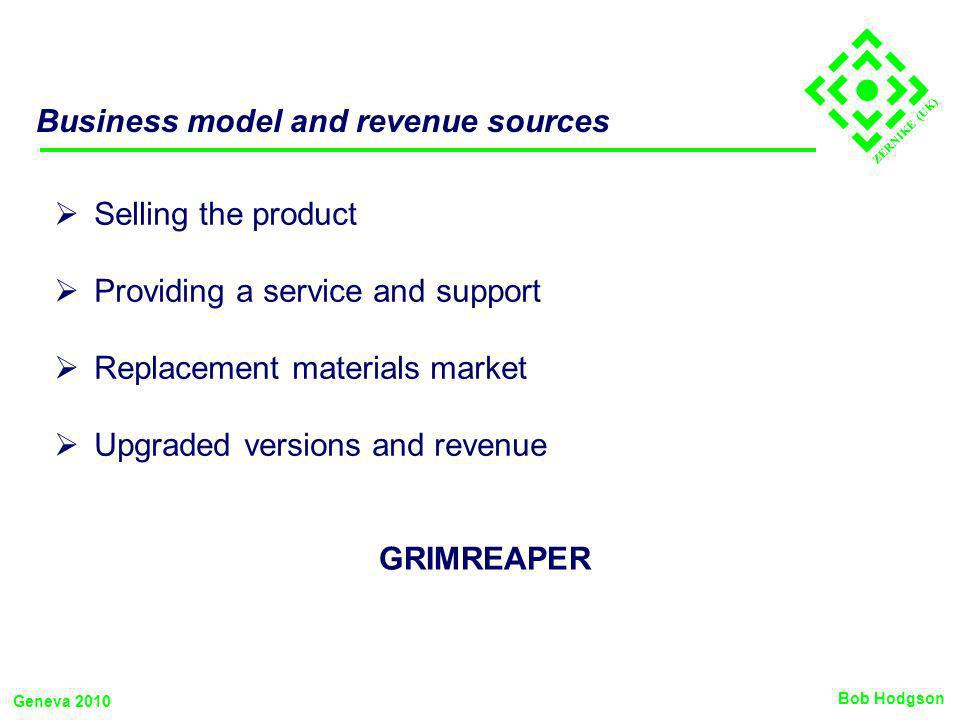ZERNIKE (UK) Business model and revenue sources Selling the product Providing a service and support Replacement materials market Upgraded versions and revenue Bob Hodgson Geneva 2010 GRIMREAPER