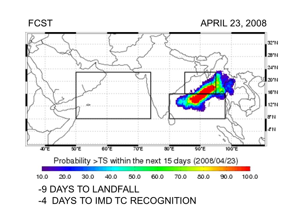 FCST APRIL 23, DAYS TO LANDFALL -4 DAYS TO IMD TC RECOGNITION