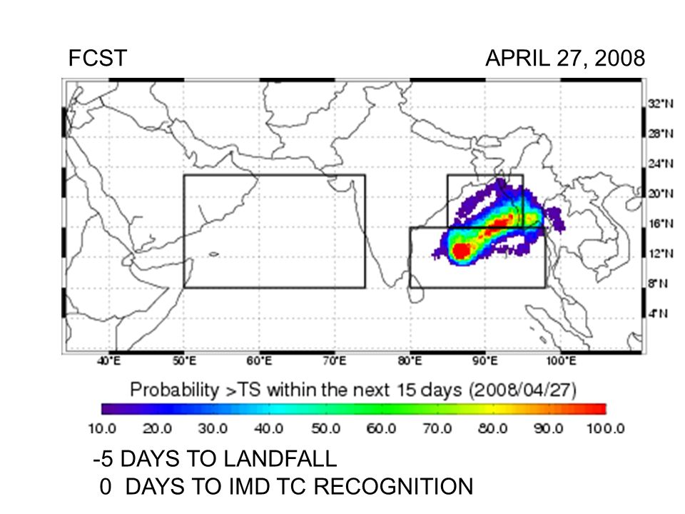 FCST APRIL 27, DAYS TO LANDFALL 0 DAYS TO IMD TC RECOGNITION