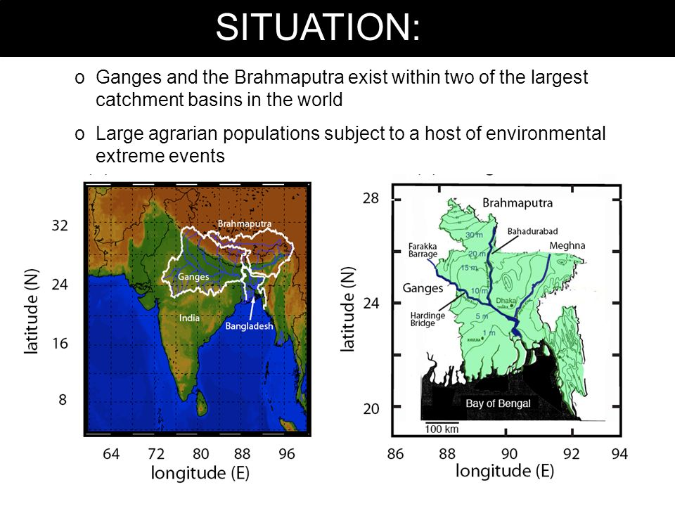 SITUATION: oGanges and the Brahmaputra exist within two of the largest catchment basins in the world oLarge agrarian populations subject to a host of