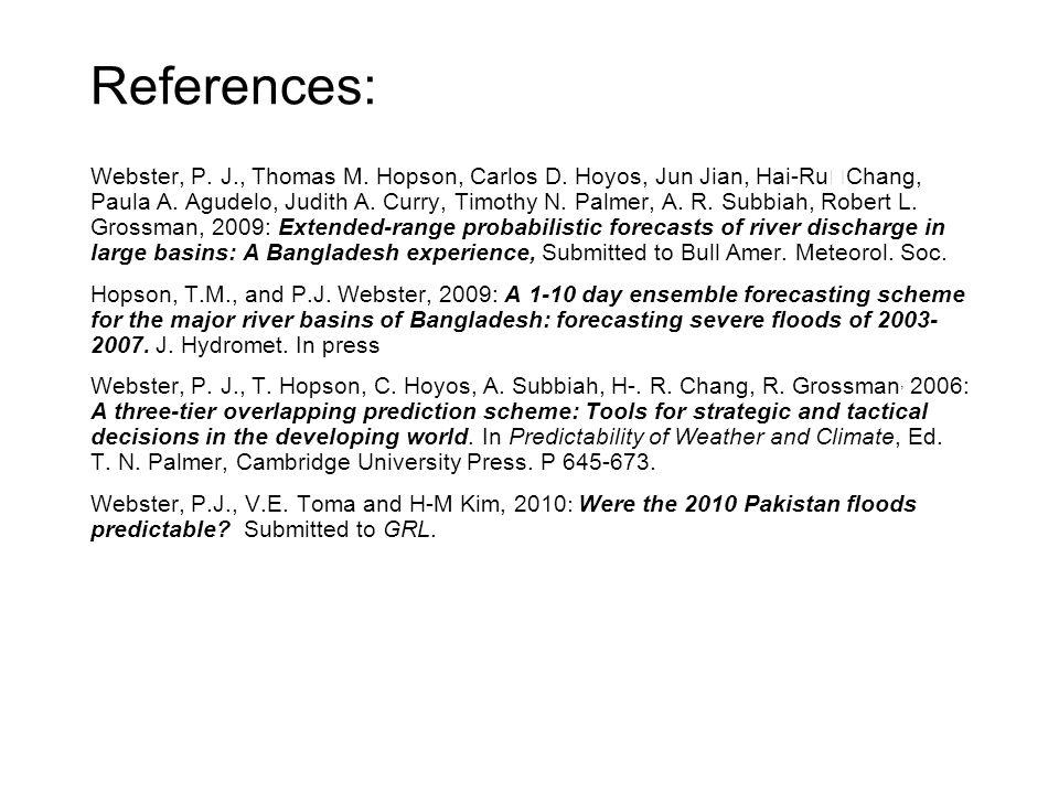 References: Webster, P. J., Thomas M. Hopson, Carlos D. Hoyos, Jun Jian, Hai-Ru Chang, Paula A. Agudelo, Judith A. Curry, Timothy N. Palmer, A. R. Sub