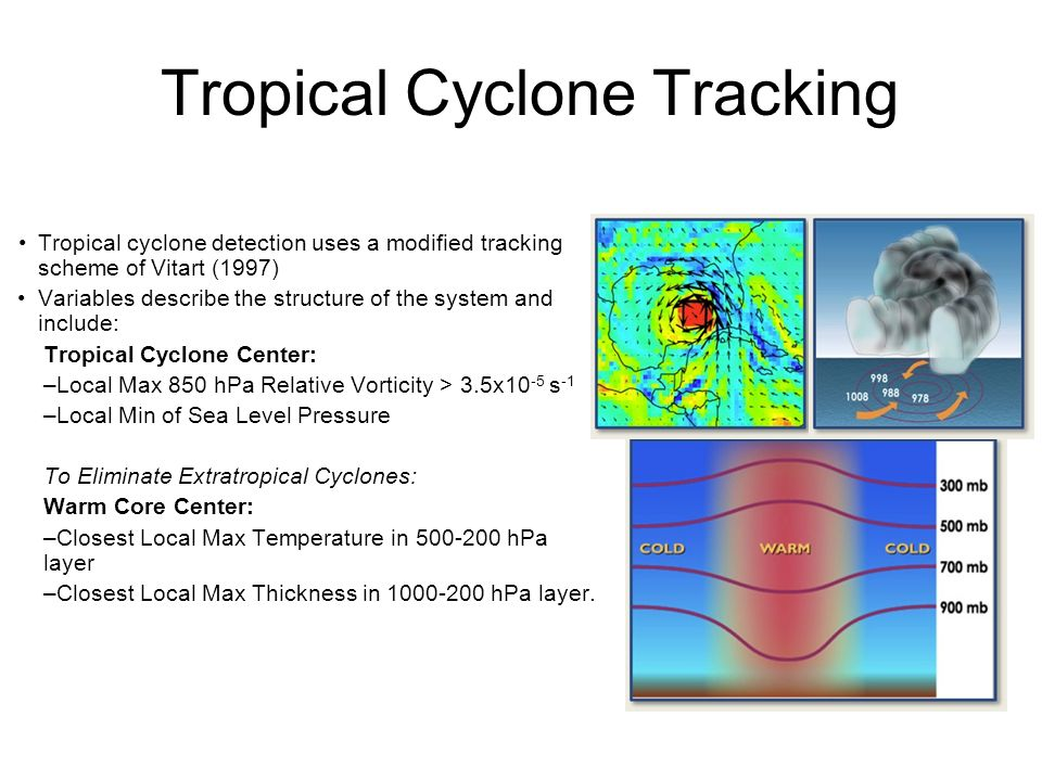 Tropical Cyclone Tracking Tropical cyclone detection uses a modified tracking scheme of Vitart (1997) Variables describe the structure of the system and include: Tropical Cyclone Center: –Local Max 850 hPa Relative Vorticity > 3.5x10 -5 s -1 –Local Min of Sea Level Pressure To Eliminate Extratropical Cyclones: Warm Core Center: –Closest Local Max Temperature in hPa layer –Closest Local Max Thickness in hPa layer.