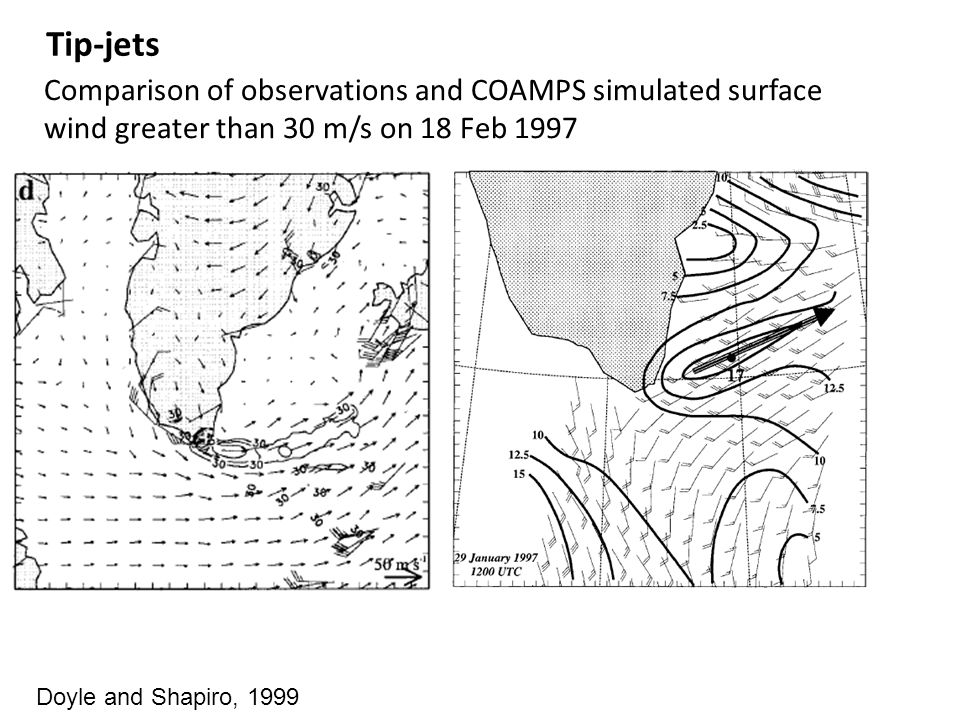 Doyle and Shapiro, 1999 Tip-jets Comparison of observations and COAMPS simulated surface wind greater than 30 m/s on 18 Feb 1997