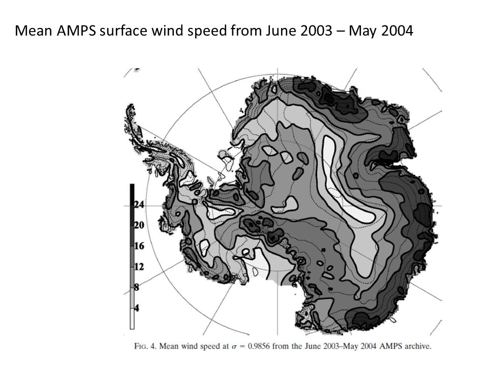 Mean AMPS surface wind speed from June 2003 – May 2004