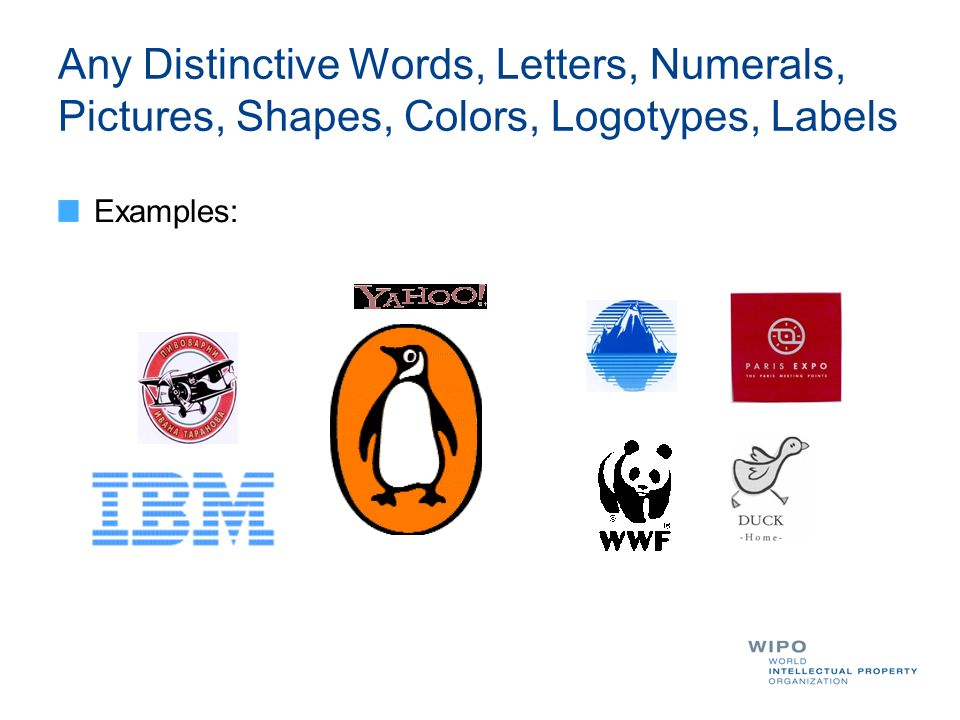 Any Distinctive Words, Letters, Numerals, Pictures, Shapes, Colors, Logotypes, Labels Examples: