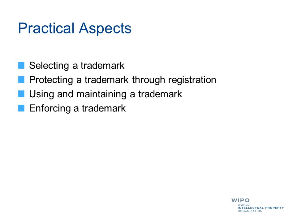 Practical Aspects Selecting a trademark Protecting a trademark through registration Using and maintaining a trademark Enforcing a trademark