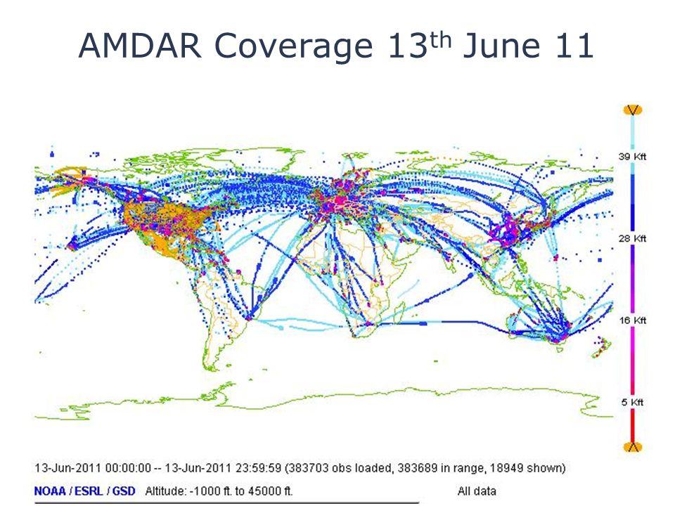 AMDAR Coverage 13 th June 11