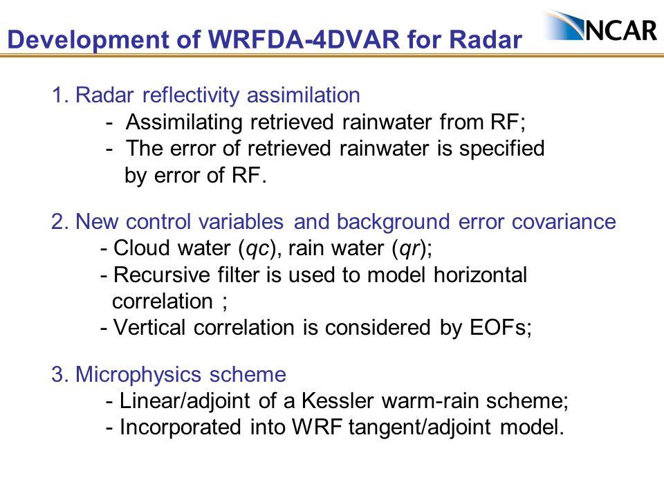 Development of WRFDA-4DVAR for Radar 1. Radar reflectivity assimilation - Assimilating retrieved rainwater from RF; - The error of retrieved rainwater