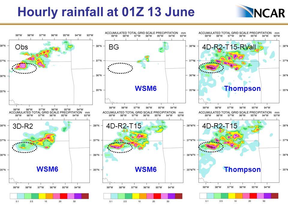 Hourly rainfall at 01Z 13 June BGObs 4D-R2-T15 3D-R2 4D-R2-T15 Thompson 4D-R2-T15-RVall Thompson WSM6