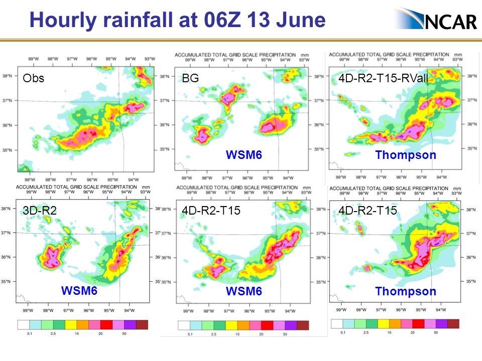 Hourly rainfall at 06Z 13 June Obs 3D-R24D-R2-T15 BG4D-R2-T15-RVall 4D-R2-T15 Thompson WSM6