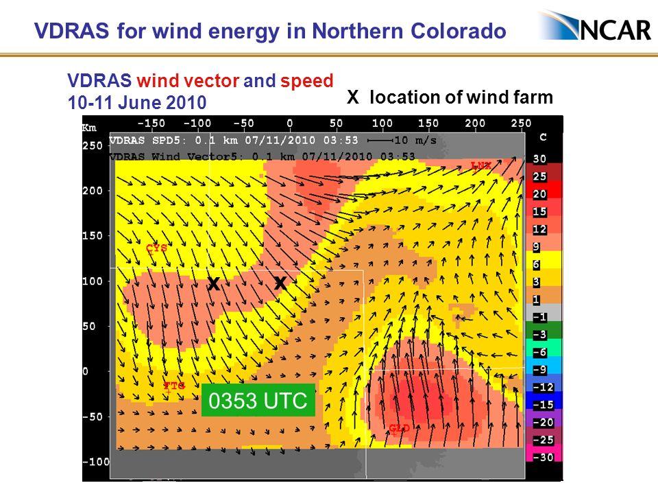 VDRAS for wind energy in Northern Colorado X location of wind farm xx 2237 UTC x x 2311 UTC x x 2344 UTC x x 0016 UTC x x 0053 UTC x x 0130 UTC x x 02