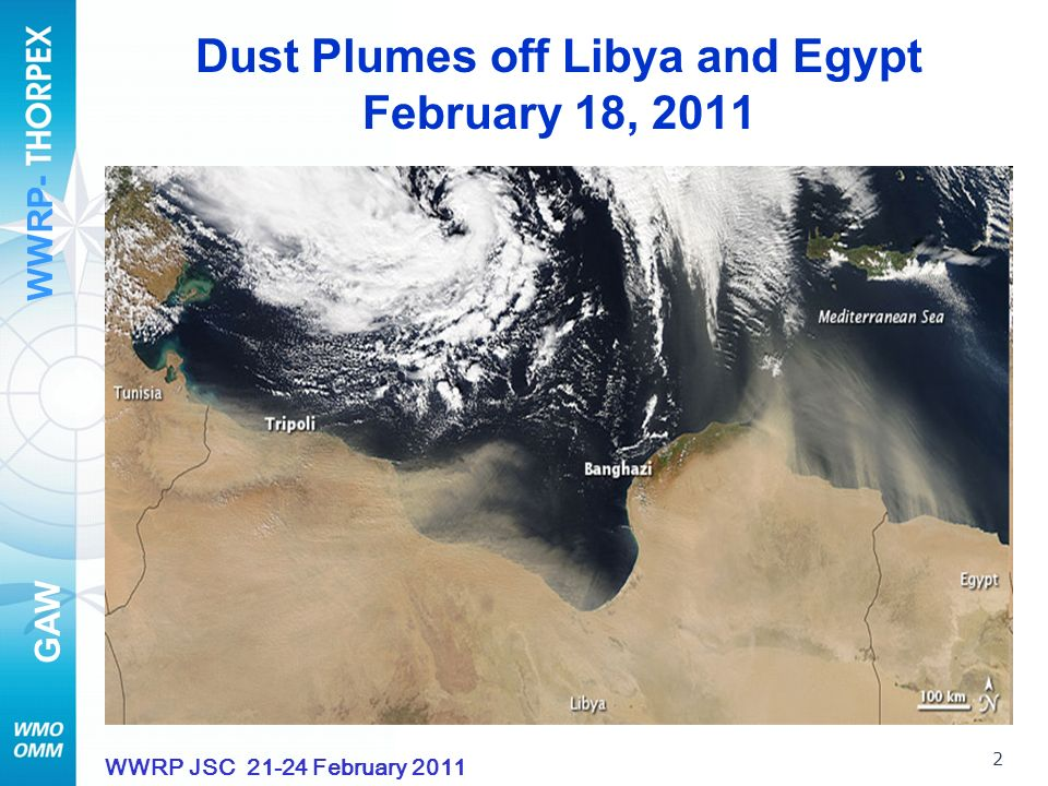 WWRP- GAW 23 WWRP JSC 21-24 February 2011 Saharan Dust And Ice Nuclei Over Central Europe Dust – efficient ice nucleation substance The number concentration of ice nuclei data since January 2008 at the Taunus Observatory DREAM simulations Joint study [Goethe-University group and WMO (Nickovic, Barrie)] combining observations and dust modelling May 2008 case Klein, et al: Saharan Dust And Ice Nuclei Over Central Europe (ACP, 2010)