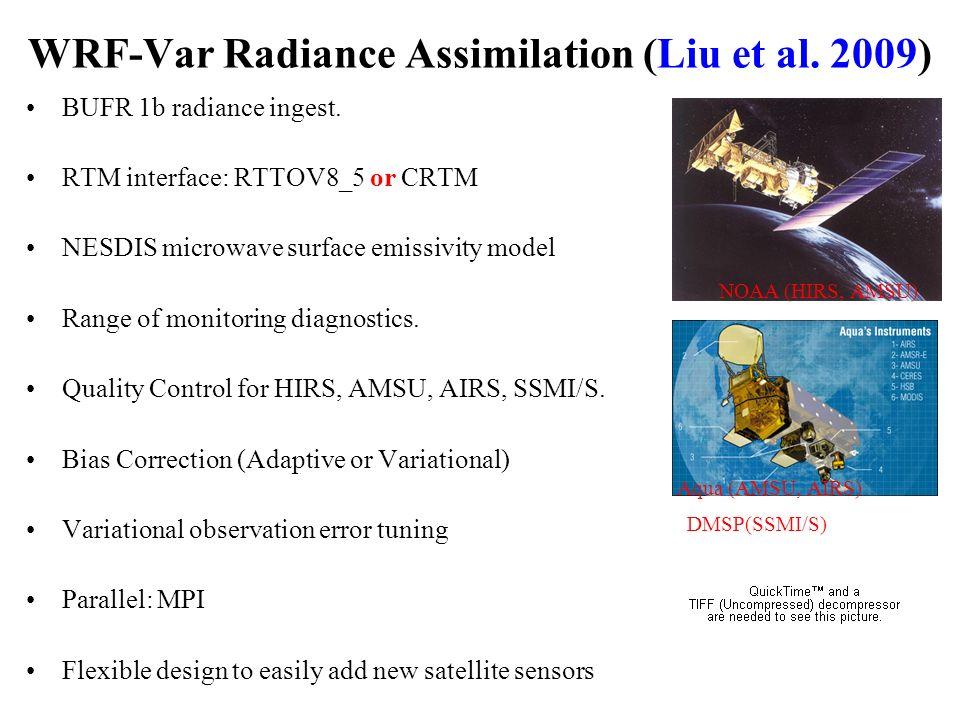 WRF-Var Radiance Assimilation (Liu et al. 2009) BUFR 1b radiance ingest. RTM interface: RTTOV8_5 or CRTM NESDIS microwave surface emissivity model Ran