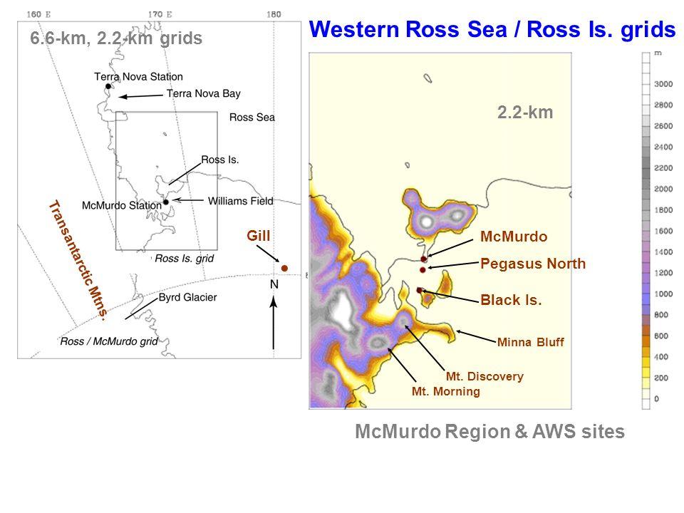 McMurdo Pegasus North Black Is. Western Ross Sea / Ross Is. grids McMurdo Region & AWS sites 2.2-km 6.6-km, 2.2-km grids Gill Minna Bluff Mt. Discover