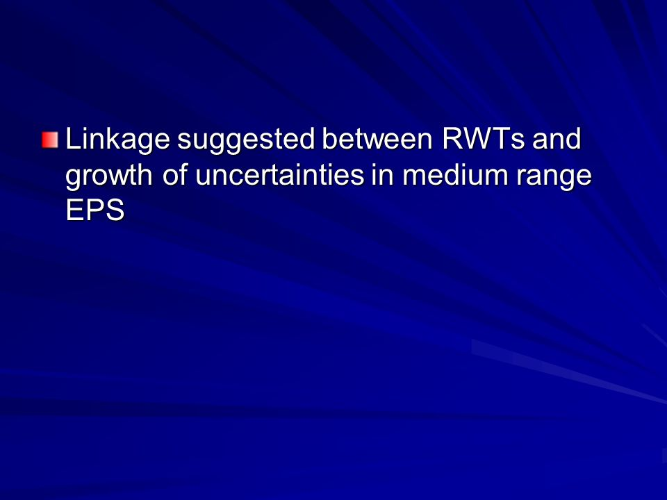 Linkage suggested between RWTs and growth of uncertainties in medium range EPS