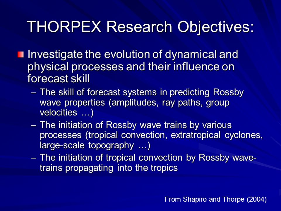 THORPEX Research Objectives: Investigate the evolution of dynamical and physical processes and their influence on forecast skill –The skill of forecas