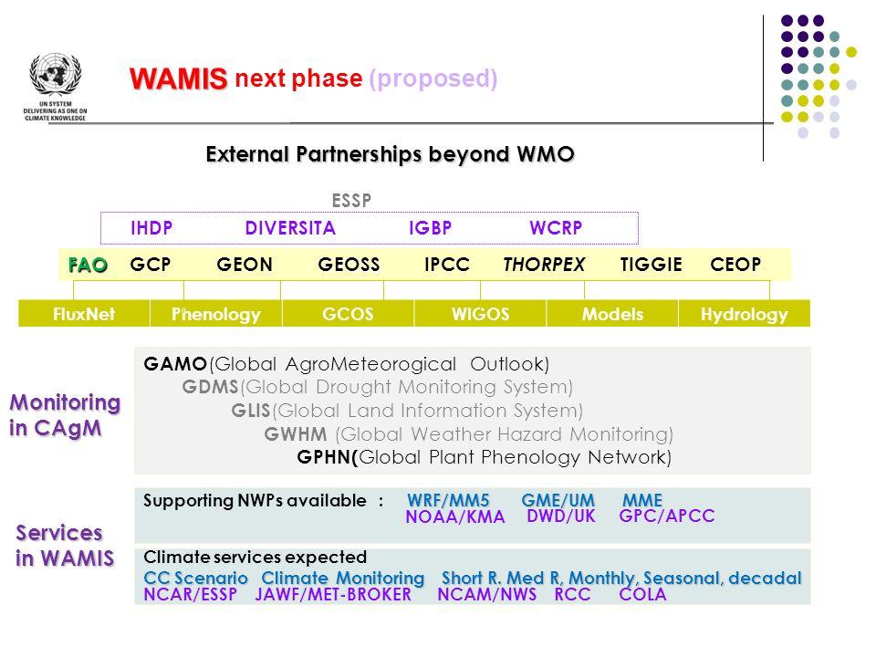 ESSP IHDP DIVERSITA IGBP WCRP FAOGEOSS FAO GCP GEON GEOSS IPCC THORPEX TIGGIE CEOP FluxNetPhenologyGCOSWIGOSModelsHydrology GAMO (Global AgroMeteorogi