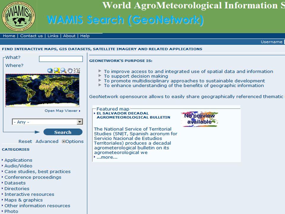 30World Meteorological Organization WAMIS Search (GeoNetwork)