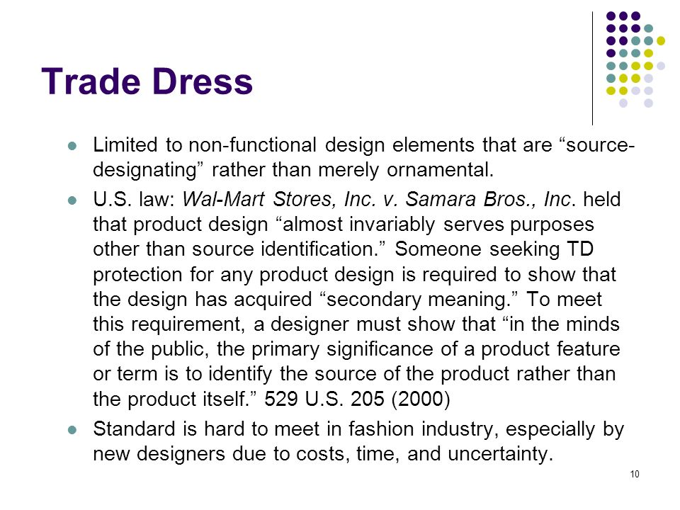 10 Trade Dress Limited to non-functional design elements that are source- designating rather than merely ornamental.