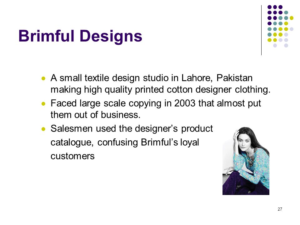 27 Brimful Designs A small textile design studio in Lahore, Pakistan making high quality printed cotton designer clothing.