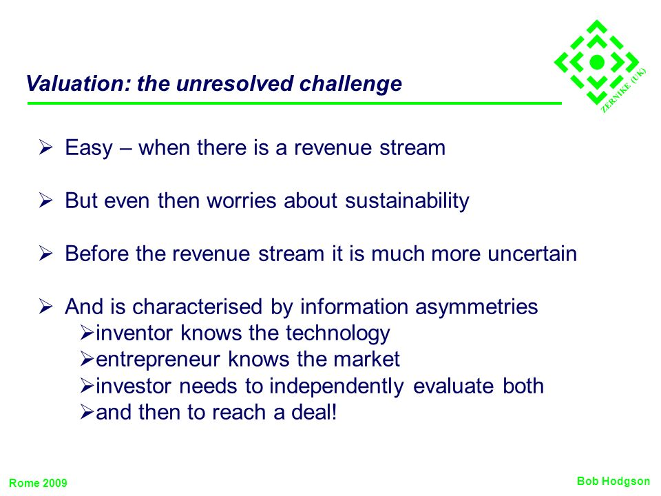 ZERNIKE (UK) Valuation: the unresolved challenge Easy – when there is a revenue stream But even then worries about sustainability Before the revenue s