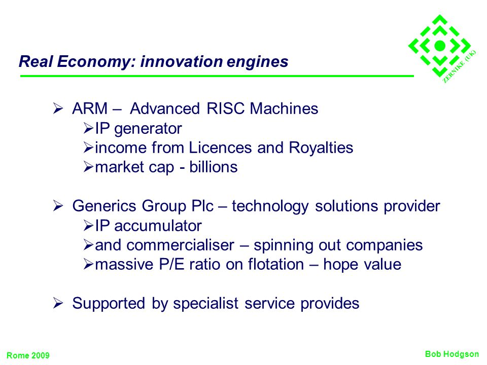 ZERNIKE (UK) Real Economy: innovation engines ARM – Advanced RISC Machines IP generator income from Licences and Royalties market cap - billions Gener