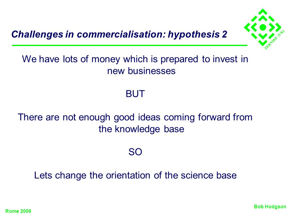 ZERNIKE (UK) Challenges in commercialisation: hypothesis 2 We have lots of money which is prepared to invest in new businesses BUT There are not enoug
